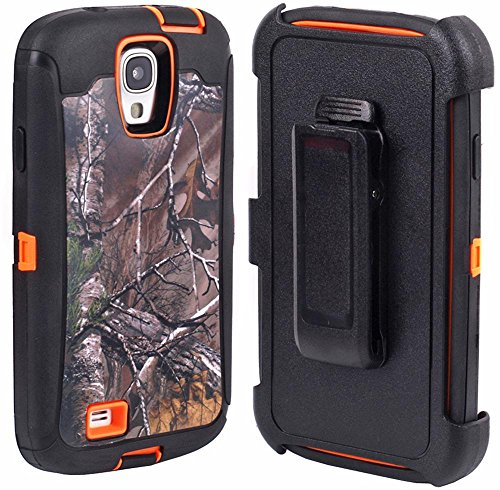 Huaxia Datacom Camo Tree Defender Military Grade Hybrid Case w Belt Clip Holster For Samsung Galaxy S4 SIV I9500 not for S4 active S4 MINI - Camo Tree on Orange
