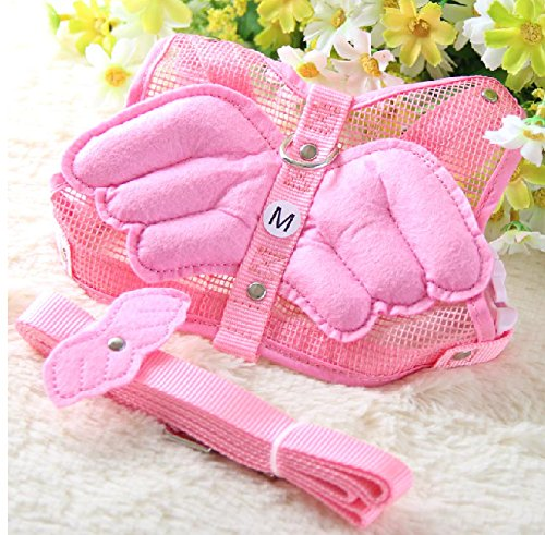 【LED首輪ホルダー付き】天使の羽 ハーネス&リード セット ピンク M サイズ  S L 犬 ペット サイズ いろいろ (2 ピンク, S)