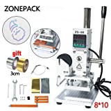 ZONEPACK Hot Foil Stamping Machine 810cm Digital Embossing Machine Manual Tipper Stamper for PVC Leather Pu and Paper Stamping with Paper Holder (Color: Silver and White, Tamaño: 8*10cm)