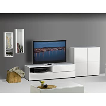 Modern White TV Stand Set Bookcase Decorative Rectangles FMP25161