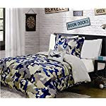 Fancy Linen Collection 6 pc Twin size Camouflage Blue Beige Kids/teens Comforter set