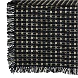 70 Inch Round Homespun Tablecloth, Hand Loomed, 100% Cotton, Black/Stone