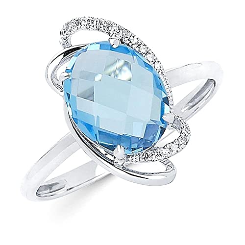 Blue topaz & round diamonds wedding ring white gold 14k 2.49 carats