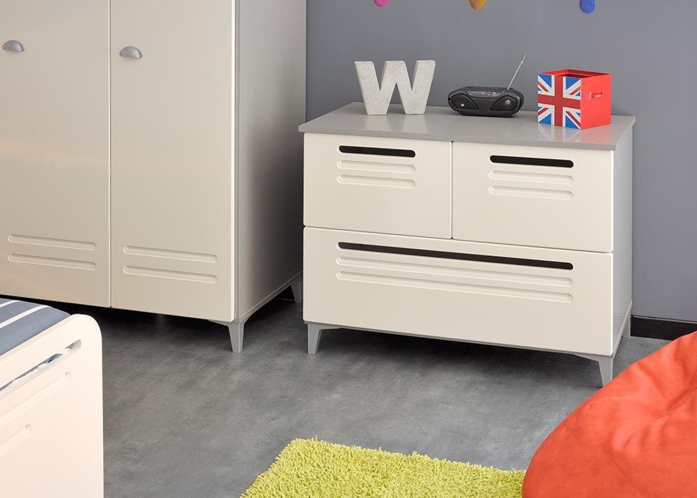Jumbo-Möbel Kommode FACTORY 8 in Weiß & Grau / Silber von Parisot günstig kaufen