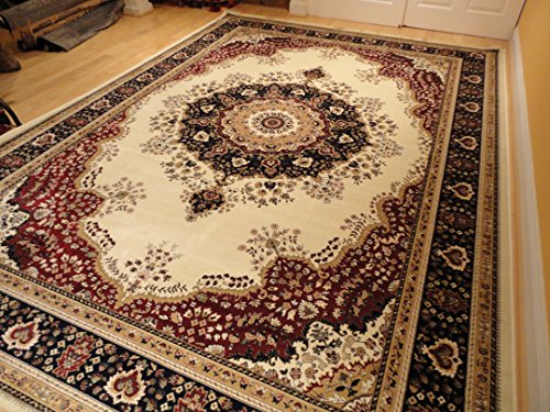 Luxury silk rug ivory rug living room cream area rugs for Dining room rugs 5x7