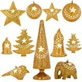 Set of 11 Gold Star Paper Mache Diwali Ornaments - Handmade Indian Gifts