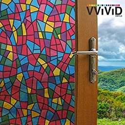Multicolor Stained Glass Shard Privacy Frosted Stained Glass Decorative Window Film for Bathroom, Kitchen, Home, Office Easy to Install DIY (17.75\