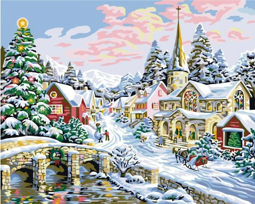 Diy oil painting, paint by number kit- Merry Christmas 16 inch by 20 inch.