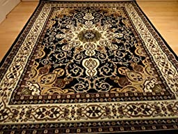 Large Black Persian Style 8x11 Oriental Area Rug Living Room Rugs 8x10 Carpet Tabriz Design Rugs