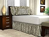 "Jaguar Print Satin Bed Skirt with 21"" Drop, King"