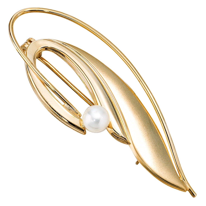 Damen Gold Brosche 585 Gold Gelbgold teilmattiert 1 Süßwasser Perle bestellen