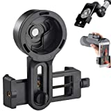 F.DORLA Universal Cell Phone Quick Photography Adapter Mount Holder Clip Bracket for Microscope Binocular Monocular Spotting Scope Telescope Accessories - Fits Almost All Smartphone (Color: Black2)