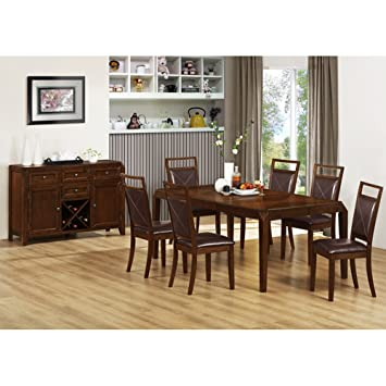 Monarch Specialties Oak Veneer Dining Table with a Leaf, 42 by 78-Inch, Brown