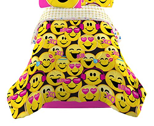 Emojination MJ6438 Happy Happy Reversible Comforter, Twin