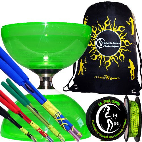 Cyclone Quartz Pro Diabolo Set (Green) Triple Ball Bearing Clutch Diabolos + Colored Fibre Sticks, 10M Reel Of Ultra Spin Diablo String & Travel Bag! (Black Handsticks)