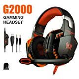 vapeonly KOTION Each G2000 PC Gaming Headset Over-Ear Game Gaming Headphone Headset Earphone Headband with Volume Control with Mic Stereo Bass LED Light for PC,PS4,Xbox One (Black Orange) (Color: Black Orange)