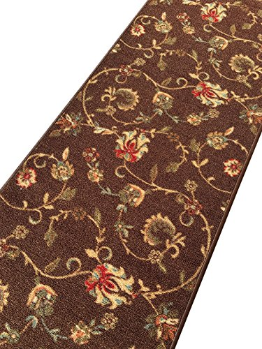Rubber backed 21 x 60 chocolate brown floral runner non slip rug rana collection kitchen for Chocolate brown bathroom rugs