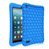 Fintie Silicone Case for all-new Amazon Fire 7 Tablet (7th Generation, 2017 Release) - [Honey Comb Upgraded Version] [Kids Friendly] Light Weight [Anti Slip] Shock Proof Protective Cover, Blue (Color: Blue)