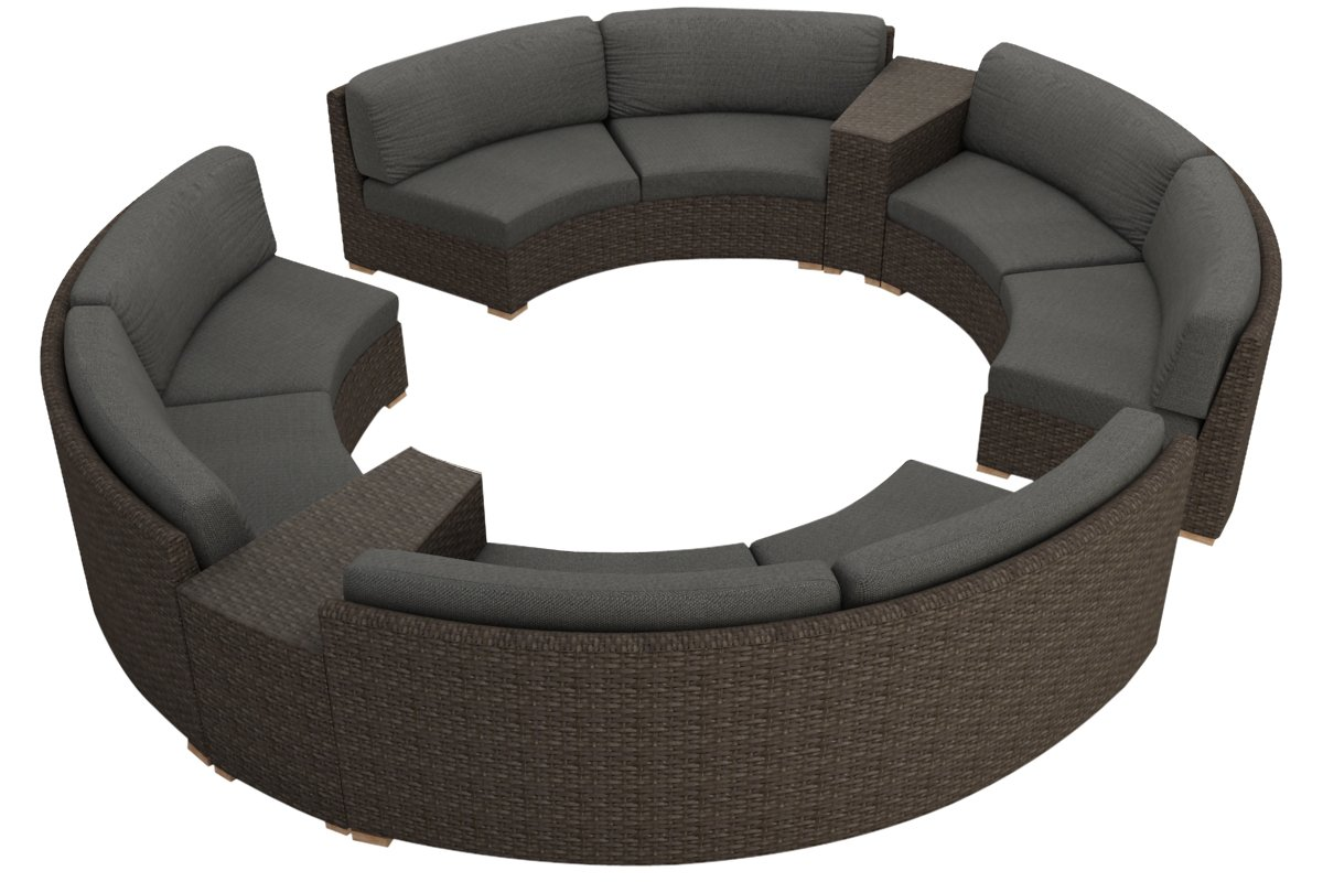 Harmonia Living 7 Piece Arden Curved Sectional Cushion Set - Canvas Charcoal
