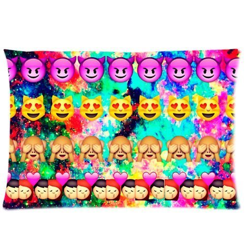 20*30 inchesx 30(Twin sides) Emojis Rectangle Zippered Pillowcase