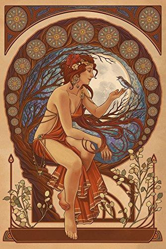 Woman-and-Bird-Art-Nouveau-9x12-Collectible-Art-Print-Wall-Decor-Travel-Poster