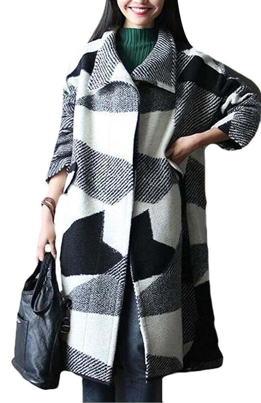 Voguees Damen Neuen Winter Großformat Hiebhülsen Karierten Muster Woolen Mantel