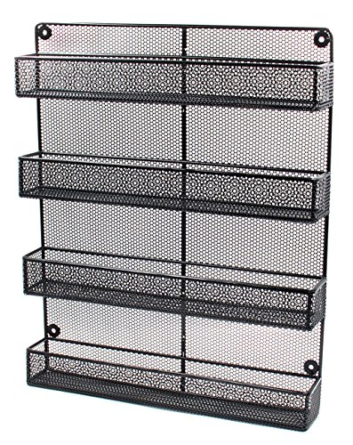 ESYLIFE 4 Tier Large Wall Mounted Wire Spice Rack Organizer, Black (Wall Mountable Wire Shelf compare prices)