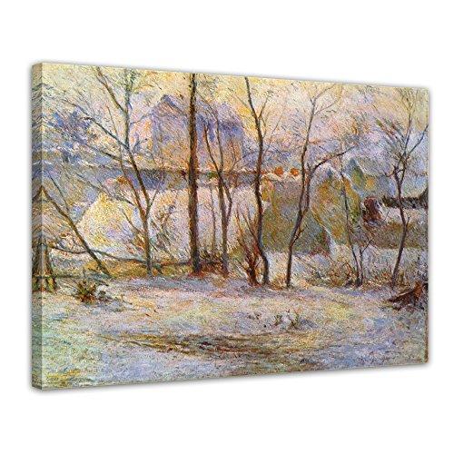 """Bilderdepot24 Leinwandbild Paul Gauguin - Alte Meister """"Garten im Schnee"""" 70x50cm - fertig gerahmt, direkt vom Hersteller"""