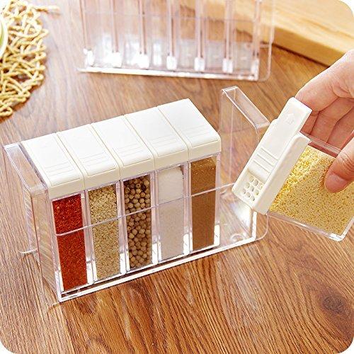 SHENNOSI 6 bottiglie, condimenti, Barattolo per spezie, Set sale e pepe shaker per spezie Contenitore Box Bianco