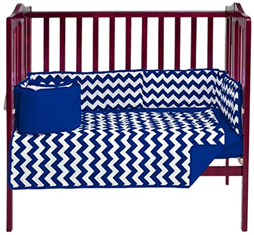 Baby Doll Chevron Port- A-Crib Bedding, Navy