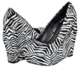 Qupid Taken-01 Black White Zebra Women Wedge Pumps