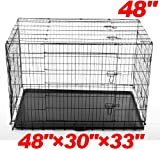 "Pawhut 48"" 3-door Folding Wire Pet Dog Crate w/ Divider - 48""l x 30""w x 33""h"