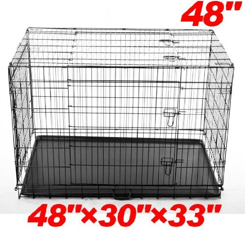 "Pawhut 48"" 3-Door Folding Wire Pet Dog Crate W/ Divider - 48""L X 30""W X 33""H front-340368"