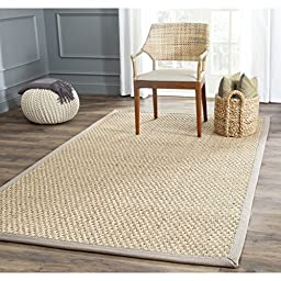 Safavieh Natural Fiber Collection NF114P Natural and Grey Seagrass Area Rug, 4 feet by 6 feet (4\' x 6\')