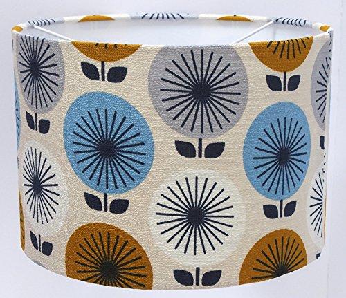 "Fifties Sunburst barkcloth lampshade drum pendant or table lamp (8"" & 12"") handmade luxury from the UK"