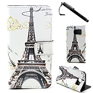 S6 Case,Galaxy S6 Case,Eiffel Tower Pattern High Quality PU Leather Wallet Flip Protective Skin Case with Magnetic Clasp for Samsung Galaxy S6(Built-in Credit Card/ID Card Slot)