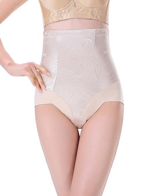 Bigood 1*Miederbody Damen Miederpants Body Bodyshaper Hoch Taille mit Blüte Dreieck Schwarz
