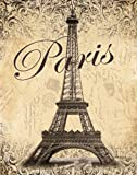 Paris Tasteful Retro Travel Cool Tower Old Fashioned Postcard France Popular Ad Bathroom Decor 11X14 Art Print