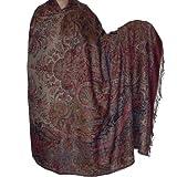 Prayer Shawl in Pure Wool Jacquard Design for Meditation and Yoga 269 x 139 Cmby ShalinIndia