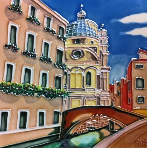 Continental Art Center BD-2120 8 by 8-Inch Venice with Pink Building Ceramic Art Tile