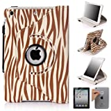 E LV 360 Degrees Rotating Stand Luxury Zebra Design PU Leather Case for Apple New iPad Mini with Automatic Wake and Sleep function+1 Black Stylus, 1 Screen Protector and E LV Microfiber Sticker Digital Cleaner (Zebra Brown, iPad Mini)