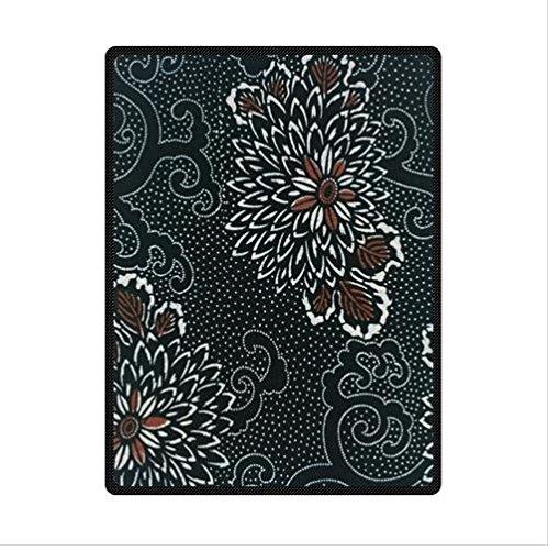 Black Background Batik Floral Fabric Custom Fleece Blanket 58 X 80 (Large)