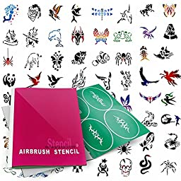 PointZero Temporary Tattoo Airbrush Stencils 100 Designs - Book 9