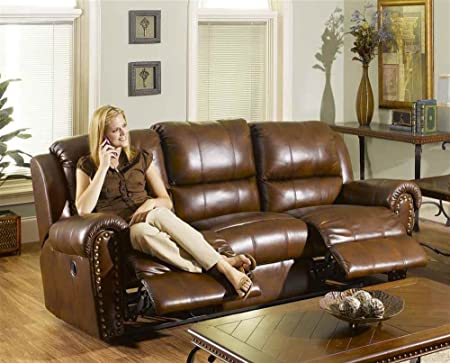 Leather Dual Reclining Sofa in Sable - Andover