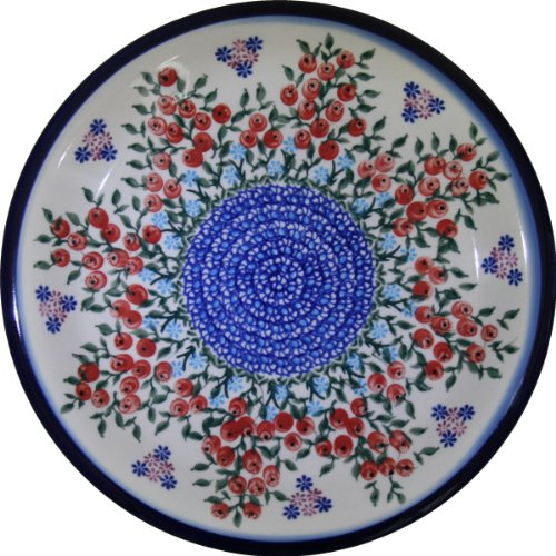 Polish Pottery Ceramika Boleslawiec 1103/282 Royal Blue Patterns Dinner Plate, 10-1/4-Inch, Red Berries And Daisies front-510257