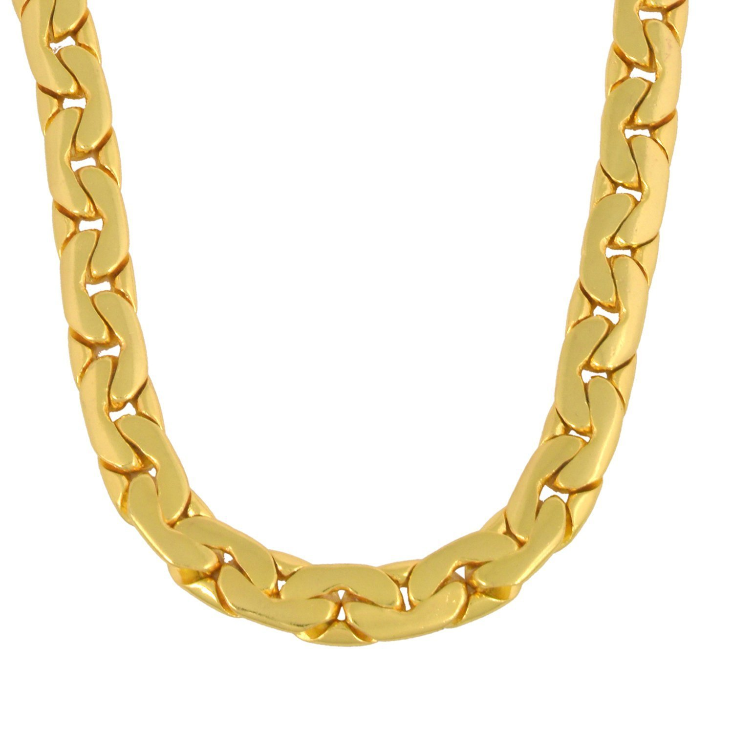 Memoir Genuine 1 Micron Gold plated 26 Inch 130Gms, super finish, heavy Brass Chain necklace for Men