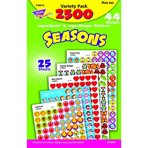 Trend Enterprises Seasons Collection Super Spots Sticker Variety Pack, 2500 per Package (T-46914)