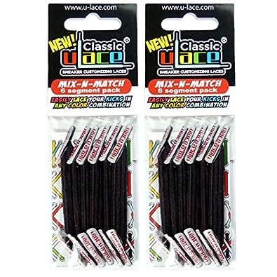 Pack Noir 2 sachets lacets élastiques U-LACE (BLACK)