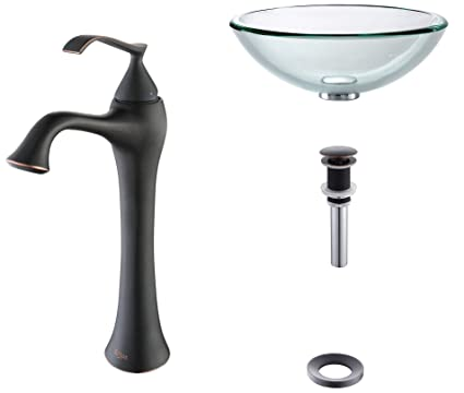 Kraus C-GV-101-19mm-15000ORB Clear 19mm thick Glass Vessel Sink and Ventus Faucet Oil Rubbed Bronze