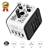 International Travel Adapter Universal Power Adapter Worldwide All in One 4 USB with Electrical Plug Perfect for European US, EU, UK, AU 160 Countries (White) ¡ (Color: white)